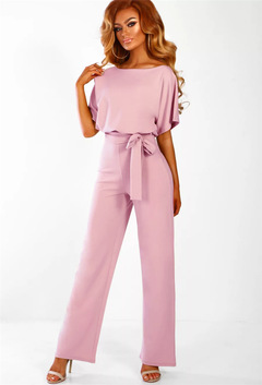 Women's Summer Short Sleeves Elegant Playsuit Wide Leg Jumpsuit Romper with Belted pink s