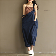 Women Fashion Casual Loose Cotton Jumpsuit Strap Dungaree Trousers Overalls Pants navy blue m
