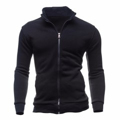 Men's Long Sleeve Zipper Jacket New Men's Casual Sport Cardigan Swearshirt black m