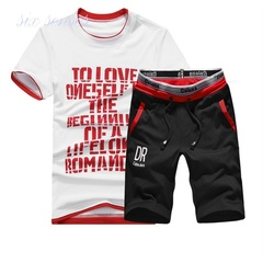 new fashion men's casual O-neck letter design t-shirts red m