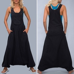 Summer solid color sling sleeveless V-neck jumpsuit Pluse size overalls loose Romper black s
