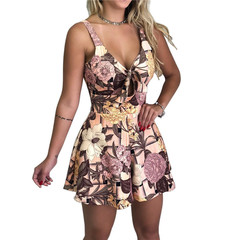 Summer Women's New Shorts Off Shoulder Slim Beauty Beach Dress Loose Romper Dress Jumpsuit pink s