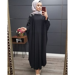 Elegant Sequins Patchwork Muslim Robe Long Gown High Quality Dubai Abaya  Loose Arab Abaya s black