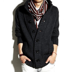 Men's Wool Cardigan Sweaters  Thick Stand Collar Pullover  Full Sleeves Slim Fit Solid Mens Sweaters black m