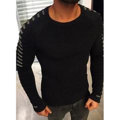 Fashion Men's Long Sleeve Knit Sweater European and American Men's Sleeve Sweater Men's Sweaters black s