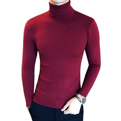 Men Clothing Men's Sweaters Black Red Casual Autumn Wool Pullover Men Turtleneck Homme Top red m