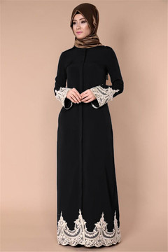 High quality Muslim abaya Middle East Turkey fashion full button Muslim lace robe Muslim long dress s black