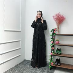 High-end Muslim lace abaya fashion bronzing style double layer dress Middle East dubai abaya s black