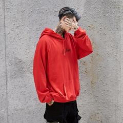 Men Hoodies Sweatshirts Smile Print Headwear Hoodie Hip Hop Streetwear Clothing  size S-XL red l