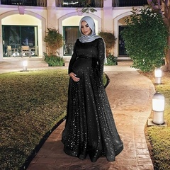 Plus Size Women Muslim Islamic Elegant Maternity Maxi Dress Floor Length Kaftan Abaya s black