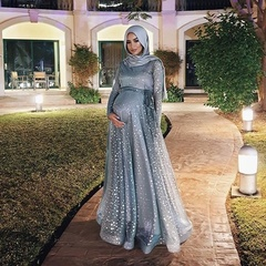 Plus Size Women Muslim Islamic Elegant Maternity Maxi Dress Floor Length Kaftan Abaya 5xl blue