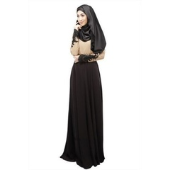 Women's  Abaya Dress Muslim  Casual Splicing Lace Abaya In Dubai Maxi Long Sleeve Muslim Dress m black