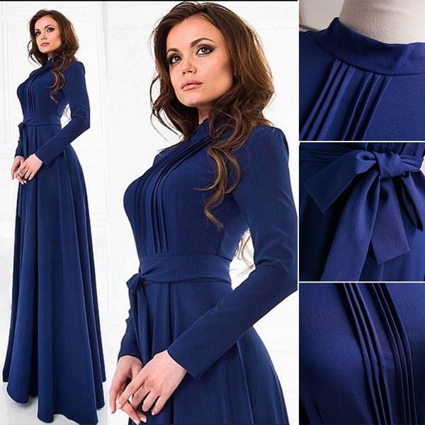Vintage Womens Kaftan Abaya Islamic Muslim Cocktail Long Sleeve Long Maxi Dress xl blue