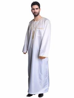 Arabia Embroidery abaya plus size dubai Men\'s Kaftan long sleeves Jubba Muslim Islamic Apparel white m
