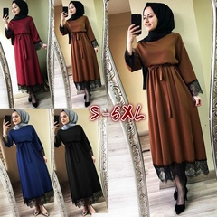Plus Size Women 2019 Abaya Dubai Ramadan Caftan Moroccan Muslim Dress Kaftan Turkish Islamic Fashion 5xl brown