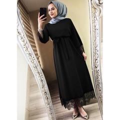 Plus Size Women 2019 Abaya Dubai Ramadan Caftan Moroccan Muslim Dress Kaftan Turkish Islamic Fashion s black