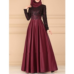 Women Fashion Muslim Dress Lace Patchwork Long Dress Kaftan Arab Abaya Islamic  Maxi Dress Plus Size s wine red