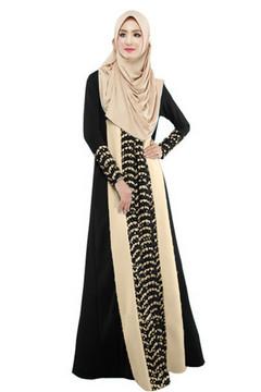 Muslim Kaftan Arab Jilbab Abaya Islamic Lace Stitching Long Sleeve Maxi Dress s black