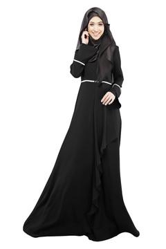 Ladies Kaftan Abaya Muslim Jilbab Islamic Flouncing Maxi Dress Arab Clothes m black