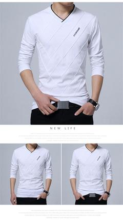 Men T-shirt Slim Fit Custom T-shirt Crease Design Long Stylish Luxury V Neck Fitness T-shirt white m cotton