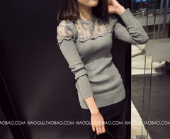 Long Sleeve Blouses Shirts Female Knitted Lace Blouse Women Blouses New Fashion Perspective  Tops gray one size