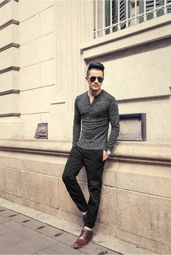 New Men Shirt new Tee Tops Long Sleeve Stylish Slim Fit Button placket Casual Outwears grey m cotton