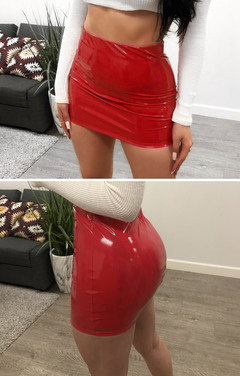 Ladies fashionable sexy leather bag hip zipper skirt mini skirt red s