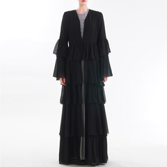 Abaya Dubai  Muslim Dress Malaysia Chiffon Cardigan Jilbab Caftan Ramadan Abayas For Women s black