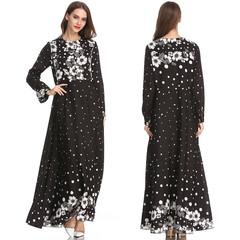 Print chiffon Muslim women long sleeve dresses with hijab m black