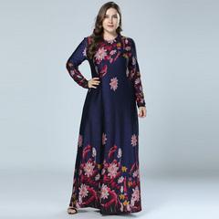 Printed Abaya Muslim Dress Arabic Floral Abayas Kaftan Dubai Maxi Dresses for Women m dark blue