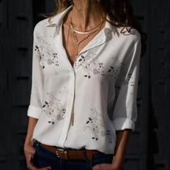 Women's New  Plus Size Loose Tops Slim Printed Deep V-neck Blouse Long Sleeve Lapel T-shirt white s