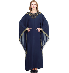 2019 lady Muslim embroidered dress gown  Abaya one size navy blue