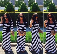New Long-Sleeved Black And White Striped Skirt Pack Hip Hip Dress(S-5XL) s picture