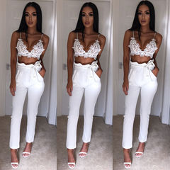Lady's casual nine - minute trousers small leg pencil trousers girdle for lady's trousers white s