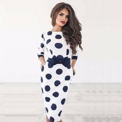 New Fashion Wave Point Slim Package Hip Dress Polka Dot Dress s white