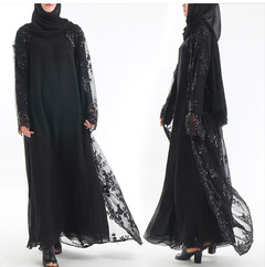 Women's Muslim cardigan with sequined embroidered lace dress s black
