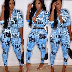 Women's newspaper print shirt long sleeve suit blue 3xl