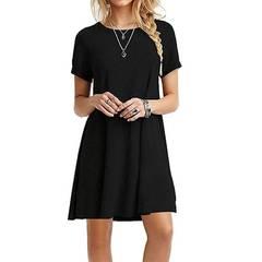 Women Casual Beach Short Dress Pocket Black White Sleeveless s black