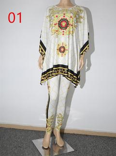 Women's printed turtleneck jumper + stretch trouser set 01 l