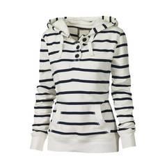 Big Yard Striped Hoodies Women Coats Casual Winter Ladies Sweatshirt white s
