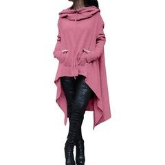 Ladies' plain hooded, long-sleeved, irregular jumper pink s