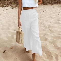 Resort beach casual loose wide leg nine minute trousers for women white s