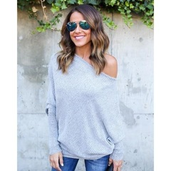 Sexy off-the-shoulder bat sleeve knit shirt with long sleeves gray s