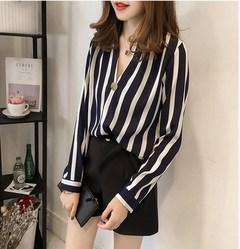 Sexy v-neck vertical stripe shirt plus-size blouse chiffon black m