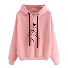 Women's Hooded Sweater Casual Printed Finger Heart Long Sleeve Solid Color Loose Tops Hoodies Coat pink s