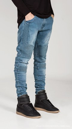 Men's biker trousers are pleated and slim with small feet and slight elastic jeans blue 29