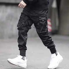 Men Multi-pocket Harem Hip Pop Pants Trousers Streetwear Sweatpants Hombre Male Casual Cargo Pants 3xl black