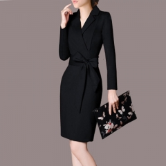CICI 2018  Autumn Dress new office dress professional women's dress  suit collar thin bag hip skirt M Black