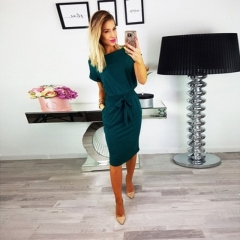 CICI 2018Fashion new women's office or party dress s deep green
