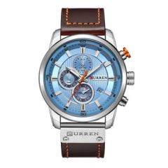 Curren 8291 Men's Watch Belt Calendar Six Needle Calendar Waterproof Men's Business Watch style4 as picture